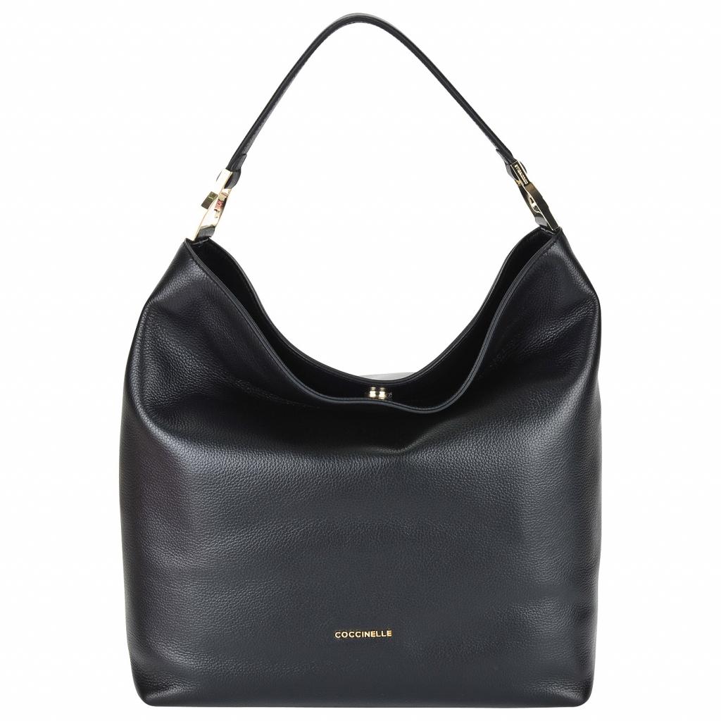 Вместительная кожаная сумка с плечевым ремешком Coccinelle Keyla